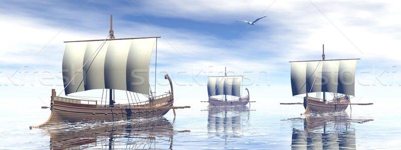 Ancient greek boats - 3D render Stock photo © Elenarts