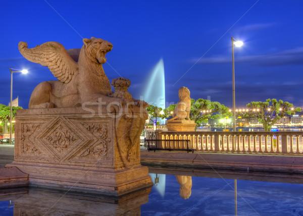 Oroszlán szobor Genova Svájc hdr éjszaka Stock fotó © Elenarts