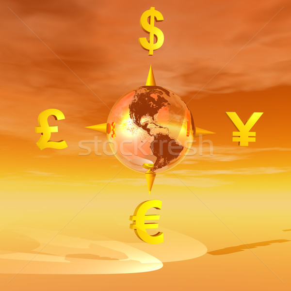 Earth compass to currencies Stock photo © Elenarts