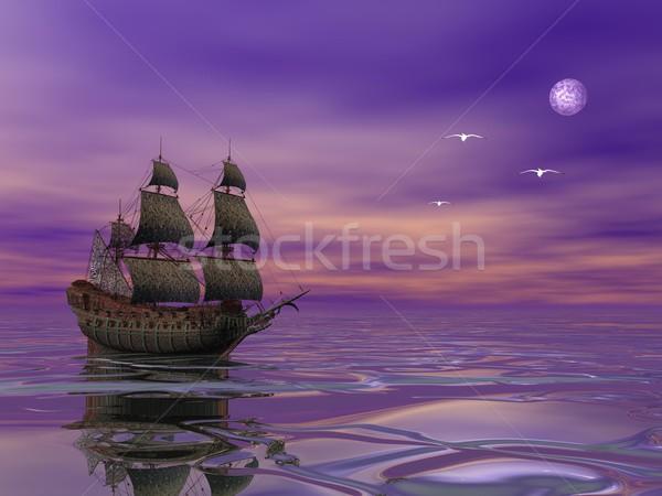 Pływające pirackich statku żeglarstwo światło księżyca ptaków Zdjęcia stock © Elenarts