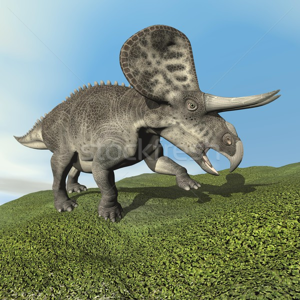 динозавр 3d визуализации ходьбе трава день небе Сток-фото © Elenarts