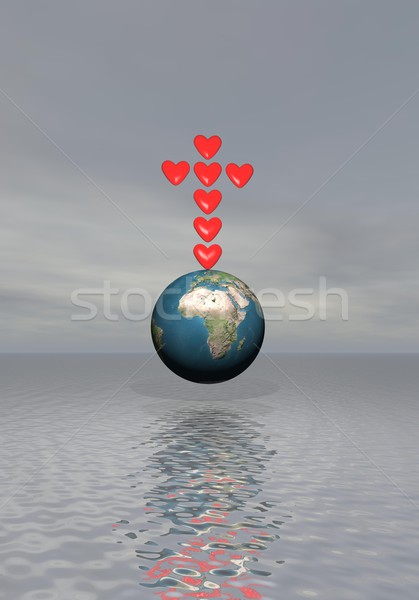Faith for love on earth - 3D render Stock photo © Elenarts