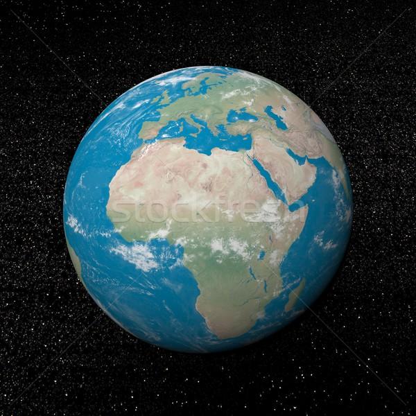 Afrika földrész csillagok 3d render Föld bolygó Stock fotó © Elenarts