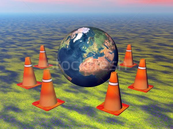 Aarde 3d render wereldbol oranje verkeer Stockfoto © Elenarts