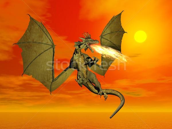 Fuego respiración dragón 3d vuelo alas Foto stock © Elenarts