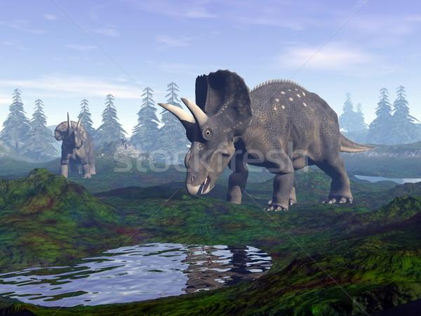 恐竜 山 3dのレンダリング 2 徒歩 水 ストックフォト © Elenarts