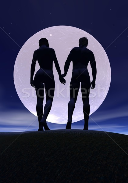 Young lovers by night Stock photo © Elenarts