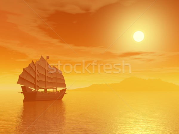Stock photo: Oriental junk by sunset