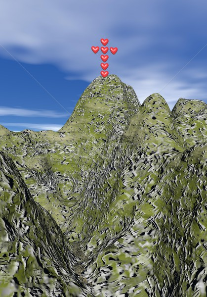 Cross of love upon the mountain - 3D render Stock photo © Elenarts