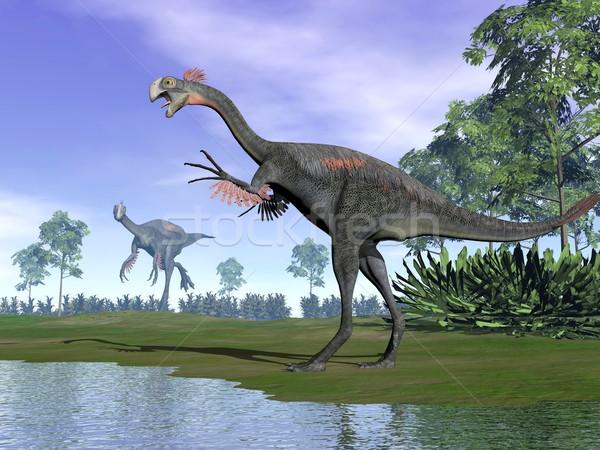 Gigantoraptor dinosaurs in nature - 3D render Stock photo © Elenarts