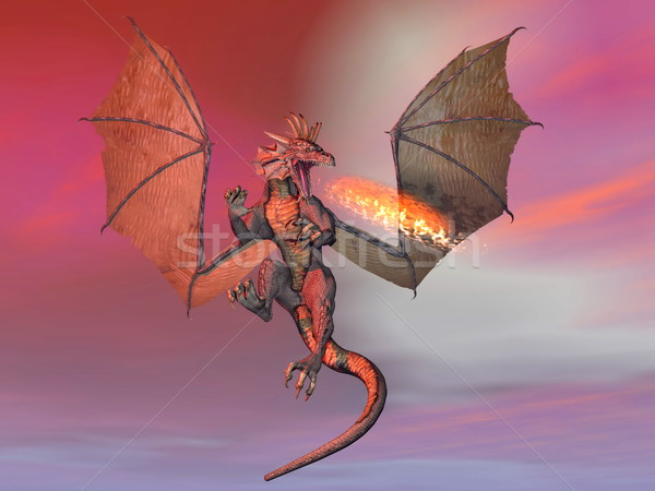 Fire breathing dragon - 3D render Stock photo © Elenarts