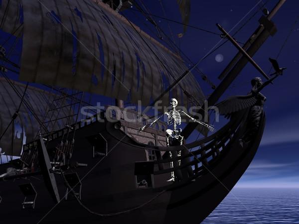 Stock fotó: Csontváz · 3d · render · elöl · szellem · csónak · éjszaka