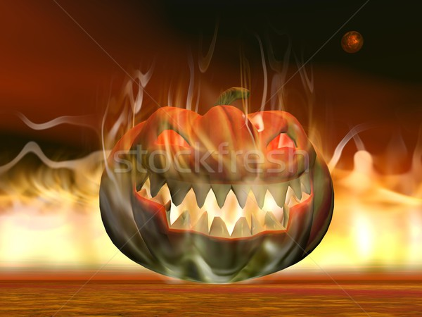Halloween pumpkin in fire - 3D render Stock photo © Elenarts