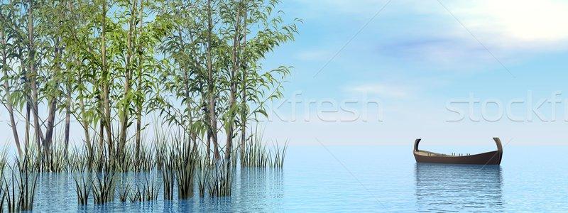 Békés fa csónak 3d render kicsi lebeg Stock fotó © Elenarts