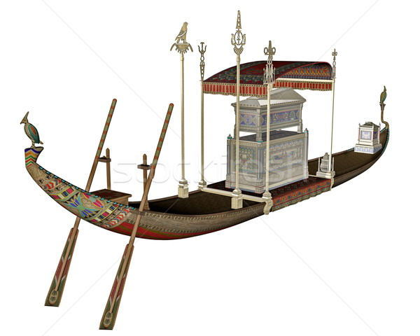 Egyptian sacred barge with tonb - 3D render Stock photo © Elenarts