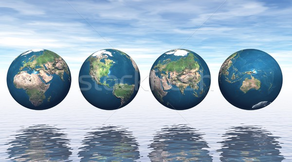 Continents on four earth Stock photo © Elenarts