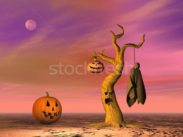 Halloween scène pompoenen lantaarn boom lijk Stockfoto © Elenarts