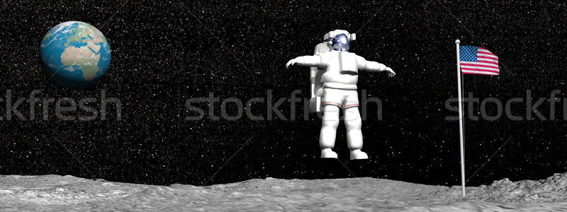 Première homme lune rendu 3d astronaute Photo stock © Elenarts