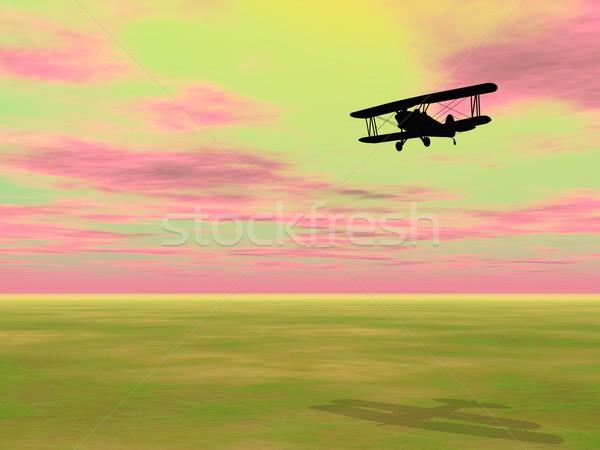 3d визуализации тень небольшой Flying красочный небе Сток-фото © Elenarts