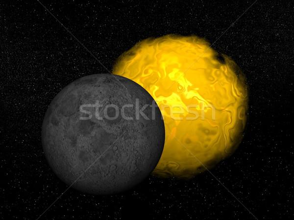 Eclipse sol 3d luna universo resumen Foto stock © Elenarts