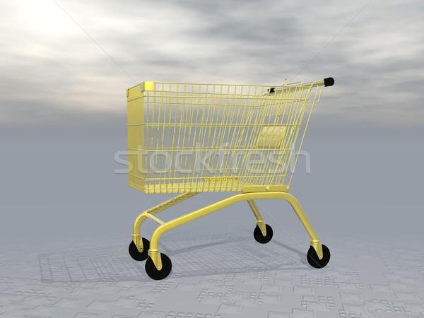 Golden shopping cart - 3D render Stock photo © Elenarts