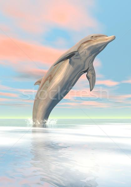 Сток-фото: свободу · дельфин · 3d · визуализации · один · прыжки · океана