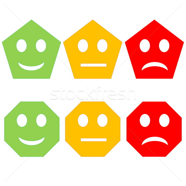 Színes emotikonok három Pentagon hatszög boldog Stock fotó © Elenarts