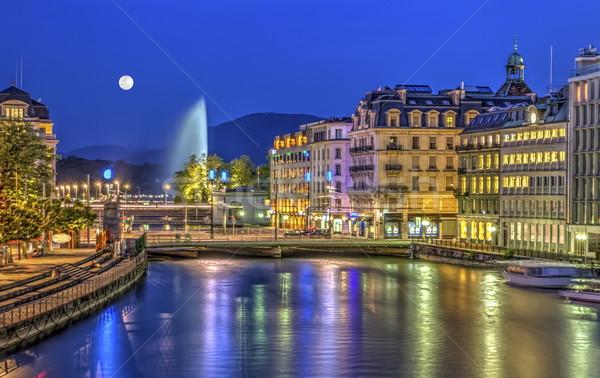 Urban view with famous fountain, Geneva, Switzerland, HDR Stock photo © Elenarts