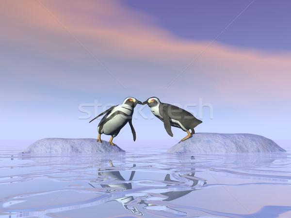 Onmogelijk kus 3d render twee permanente apart Stockfoto © Elenarts