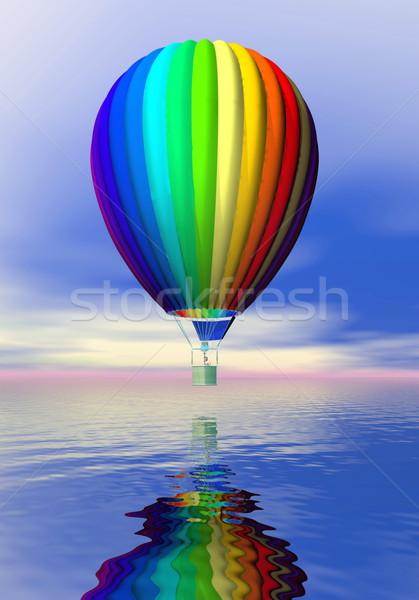 красочный воздушном шаре 3d визуализации один Flying океана Сток-фото © Elenarts