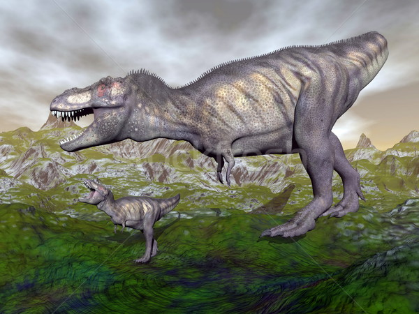 Tyrannosaurus rex dinosaur mum and baby- 3D render Stock photo © Elenarts