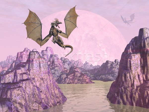 Dragons upon rocks - 3D render Stock photo © Elenarts