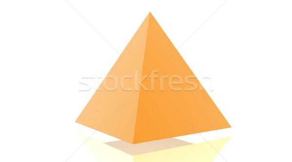 Narancs piramis árnyék fehér háttér piramisok Stock fotó © Elenarts