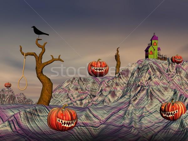 Colorful halloween scene Stock photo © Elenarts
