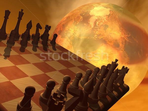 Chess strategy - 3D render Stock photo © Elenarts