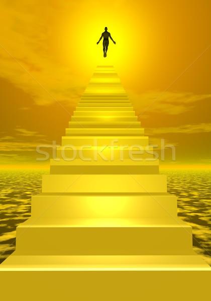 Сток-фото: небо · 3d · визуализации · тень · человека · Солнечный