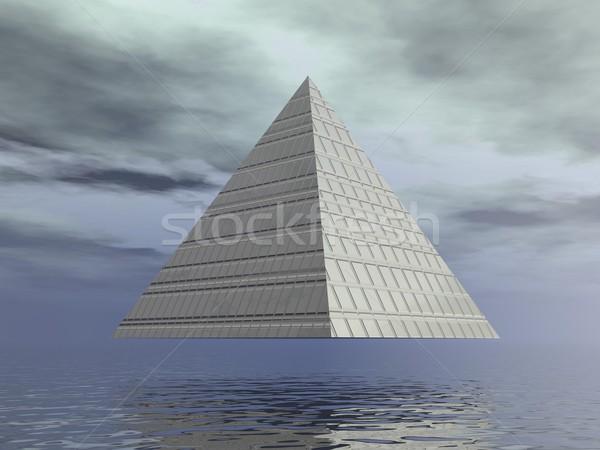 Metallic pyramid - 3D render Stock photo © Elenarts