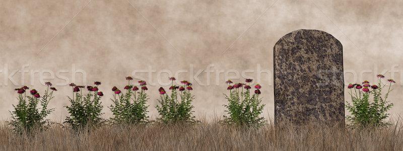 Vintage lápida sepulcral 3d flores estilo flor Foto stock © Elenarts