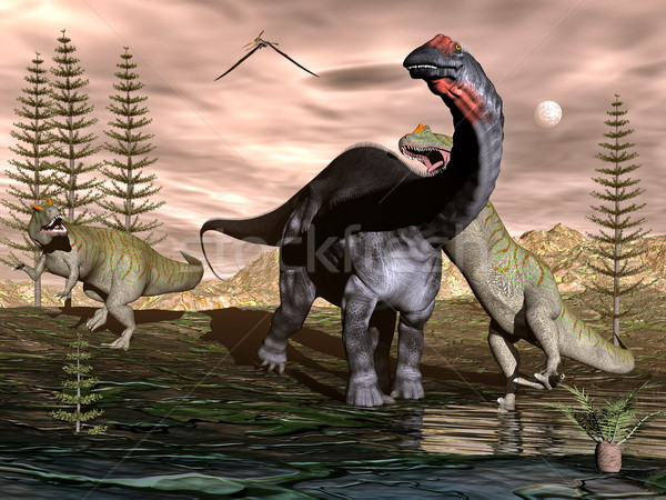 Allosaurus attacking apatosaurus dinosaur - 3D render Stock photo © Elenarts