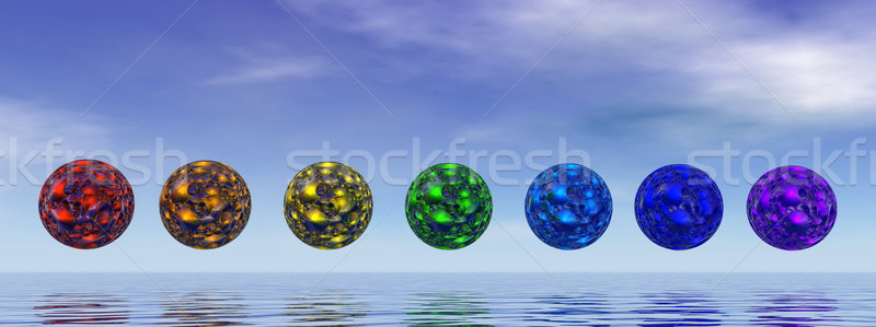 Chakra bollen 3d render kleurrijk dag water Stockfoto © Elenarts