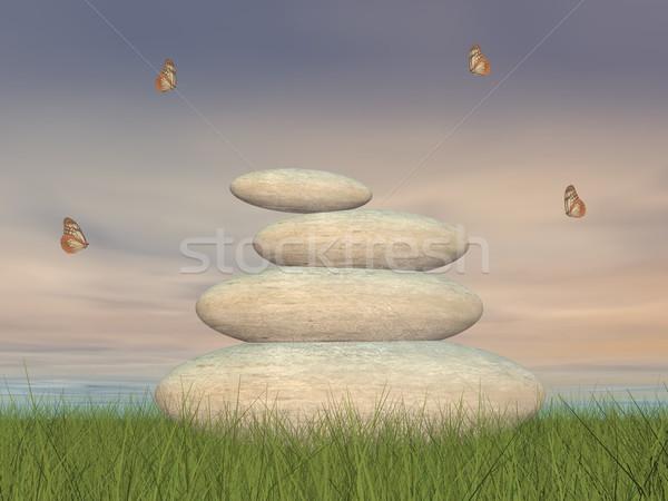 Zen pierres paix rendu 3d papillons paisible Photo stock © Elenarts