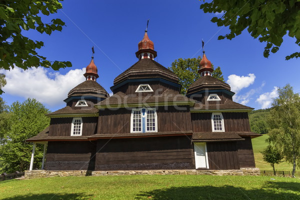 Greek catholic wooden church, UNESCO, Nizny Komarnik, Slovakia Stock photo © Elenarts