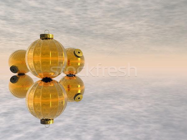 Golden Christmas balls - 3D render Stock photo © Elenarts