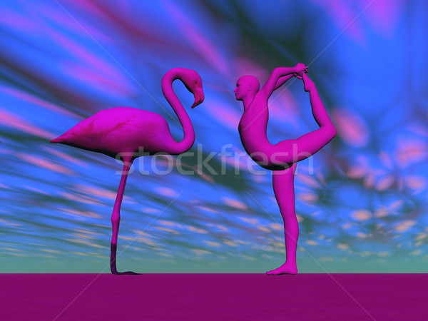 Flamingo yoga - 3D render Stock photo © Elenarts