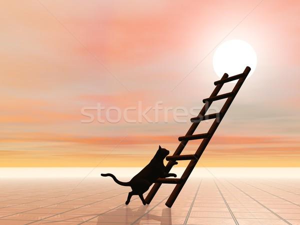 Сток-фото: лестнице · кошки · 3d · визуализации · черный · силуэта · ходьбе