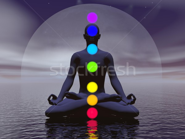 Noche 3d silueta hombre meditando siete Foto stock © Elenarts