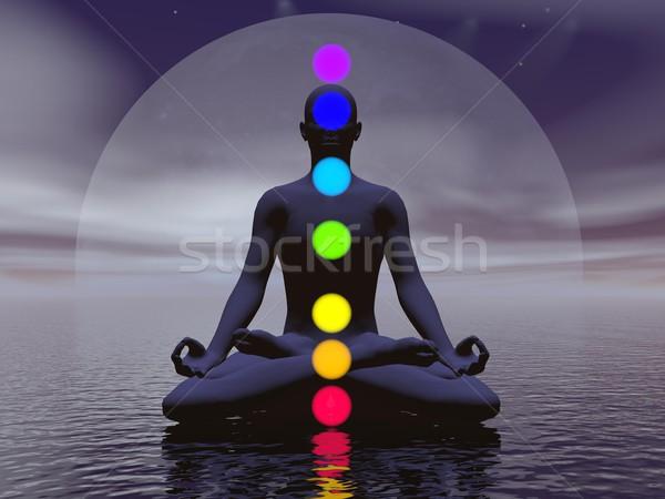 Noite 3d render silhueta homem meditando sete Foto stock © Elenarts