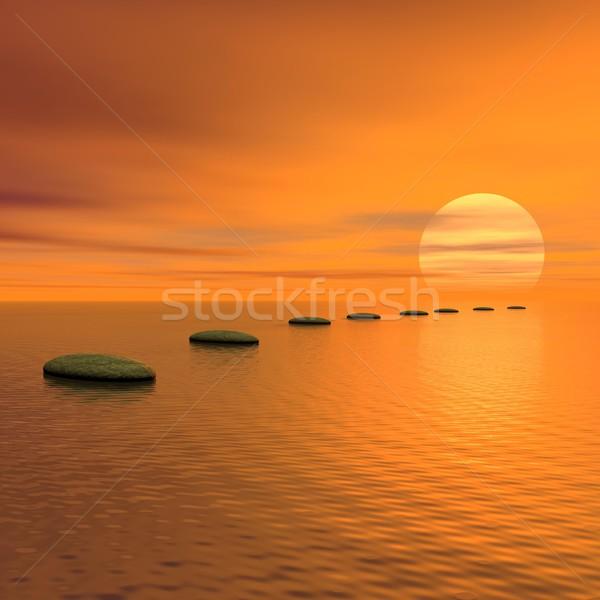 Adımlar güneş 3d render gri taşlar okyanus Stok fotoğraf © Elenarts