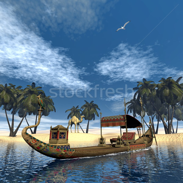Egyptian sacred barge with throne - 3D render Stock photo © Elenarts