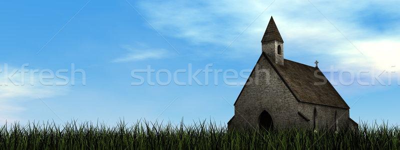 Klein kapel 3d render natuur dag landschap Stockfoto © Elenarts